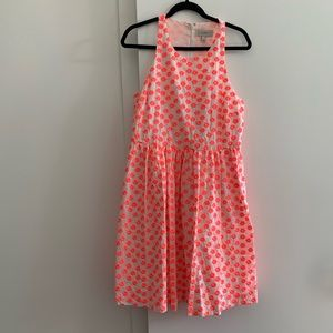 J. Crew embroidered racer dress  w/ neon flowers